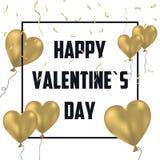 Κάρτα διακοπών ημέρας βαλεντίνων ` s με τα χρυσά μπαλόνια και το χρυσό κομφετί Έμβλημα εορτασμού, αφίσα με το πλαίσιο και διακόσμ διανυσματική απεικόνιση