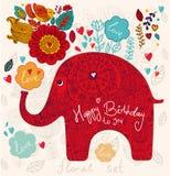 Κάρτα διακοπών με τον ελέφαντα Στοκ φωτογραφία με δικαίωμα ελεύθερης χρήσης