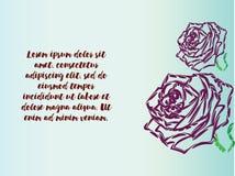 Κάρτα δώρων με τα πορφυρά τριαντάφυλλα διανυσματική απεικόνιση