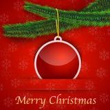 Κάρτα δώρων με το χριστουγεννιάτικο δέντρο και ένα μπιχλιμπίδι Στοκ φωτογραφία με δικαίωμα ελεύθερης χρήσης