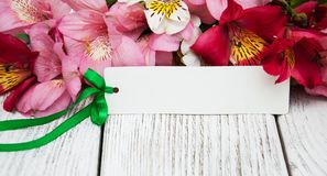 Κάρτα εγγράφου με τα λουλούδια alstroemeria Στοκ Φωτογραφίες