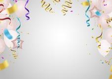 κάρτα εμβλημάτων πρόσκλησης κομμάτων και εορτασμού που χρωματίζονται και transpa ελεύθερη απεικόνιση δικαιώματος