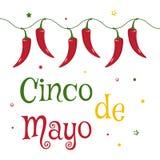 Κάρτα εορτασμού για Cinco de Mayo Διακοπές στο Μεξικό διάνυσμα ελεύθερη απεικόνιση δικαιώματος