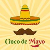 Κάρτα εορτασμού για Cinco de Mayo Διακοπές στο Μεξικό r ελεύθερη απεικόνιση δικαιώματος