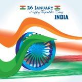 Κάρτα εορτασμών ημέρας Δημοκρατίας της Ινδίας Στοκ Φωτογραφίες