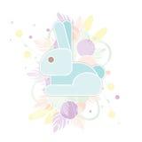 Κάρτα ευτυχές Πάσχα με το αφηρημένο κουνέλι στα χρώματα κρητιδογραφιών Αστείο μπλε λαγουδάκι στο floral υπόβαθρο Στοκ φωτογραφία με δικαίωμα ελεύθερης χρήσης
