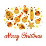 Κάρτα ευτυχή Χριστούγεννα απομονωμένο λευκό παιχνιδιών σφαιρών Χριστουγέννων ανασκόπησης γυαλί Διακοσμήσεις Χριστουγέννων στοιχεί απεικόνιση αποθεμάτων