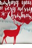 Κάρτα ελαφιών τέχνης περικοπών χειμερινού εγγράφου Χαρούμενα Χριστούγεννας Στοκ Φωτογραφία