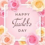 Κάρτα ημέρας δασκάλων με τα τριαντάφυλλα διανυσματική απεικόνιση