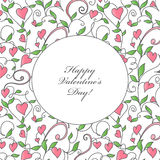 Κάρτα ημέρας βαλεντίνου με τη διακόσμηση καρδιών απεικόνιση αποθεμάτων