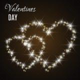Κάρτα ημέρας βαλεντίνου με τις καρδιές Φω'τα και θαμπάδες απεικόνιση αποθεμάτων