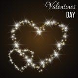 Κάρτα ημέρας βαλεντίνου με τις καρδιές Φω'τα και θαμπάδες ελεύθερη απεικόνιση δικαιώματος
