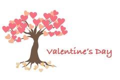 Κάρτα ημέρας βαλεντίνου με το δέντρο της αγάπης διανυσματική απεικόνιση