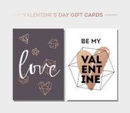 Κάρτα ημέρας βαλεντίνων ` s που τίθεται με τη σύγχρονη καλλιγραφία Ετικέττες δώρων με τα χρυσά, μαύρα, ρόδινα, άσπρα χρώματα Στοκ Φωτογραφία