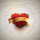 Κάρτα ημέρας βαλεντίνου με την καρδιά τριαντάφυλλων Στοκ Εικόνα