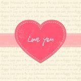 Κάρτα ημέρας βαλεντίνου με τη ρόδινη καρδιά Στοκ εικόνα με δικαίωμα ελεύθερης χρήσης