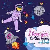 Κάρτα ημέρας βαλεντίνου με Spaceman διανυσματική απεικόνιση