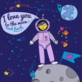 Κάρτα ημέρας βαλεντίνου με Spaceman ελεύθερη απεικόνιση δικαιώματος