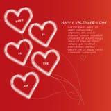 Κάρτα ημέρας βαλεντίνων Αγίου με πέντε καρδιές γραμμών με το κείμενο Στοκ εικόνες με δικαίωμα ελεύθερης χρήσης