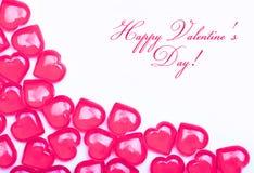 Κάρτα ημέρας βαλεντίνων. Καυτές ρόδινες καρδιές που απομονώνονται στοκ εικόνα με δικαίωμα ελεύθερης χρήσης