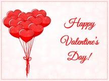 Κάρτα ημέρας βαλεντίνων με τα μπαλόνια Στοκ Εικόνες