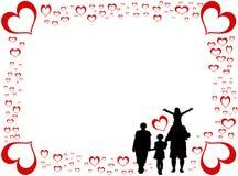 Κάρτα ημέρας βαλεντίνων με την ευτυχή οικογένεια ελεύθερη απεικόνιση δικαιώματος