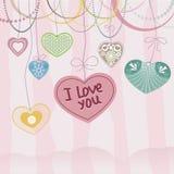 Κάρτα ημέρας βαλεντίνων με τις καρδιές Στοκ εικόνα με δικαίωμα ελεύθερης χρήσης