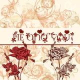 Κάρτα ημέρας βαλεντίνων χαιρετισμού με τα τριαντάφυλλα εγώ και εσείς Στοκ Εικόνα
