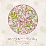 Κάρτα ημέρας μητέρας με το μεγάλο κύκλο των λουλουδιών άνοιξη, διάνυσμα Στοκ Εικόνες