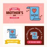 Κάρτα ημέρας μητέρων \ «s με το δημιουργικό λογότυπο και το ρόδινο διάνυσμα θέματος Στοκ Φωτογραφία