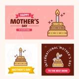 Κάρτα ημέρας μητέρων \ «s με το λογότυπο κέικ και το ρόδινο διάνυσμα θέματος Στοκ Εικόνα