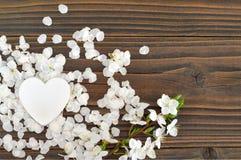 Κάρτα ημέρας μητέρων: Διακοσμητικά λουλούδια καρδιών και άνοιξη Στοκ Εικόνες