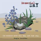 Κάρτα ημέρας μνήμης Η φιάλη του παλαιού στρατιώτη που διαπερνιούνται με μια σφαίρα σε μια επιφάνεια ερήμων, τα λουλούδια και η χλ διανυσματική απεικόνιση