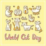 Κάρτα ημέρας παγκόσμιων γατών με τις γάτες στο κατασκευασμένο υπόβαθρο Διανυσματική απεικόνιση
