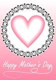 Κάρτα ημέρας της ευτυχούς μητέρας με την καρδιά στο διακοσμητικό πλαίσιο στο ρόδινο σχέδιο Στοκ Φωτογραφία