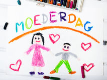 Κάρτα ημέρας της ολλανδικής μητέρας με την ημέρα της μητέρας λέξεων Στοκ εικόνα με δικαίωμα ελεύθερης χρήσης