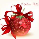 Κάρτα ημέρας του βαλεντίνου χαιρετισμού με τη μεγάλη ρεαλιστική φράουλα και Στοκ εικόνα με δικαίωμα ελεύθερης χρήσης