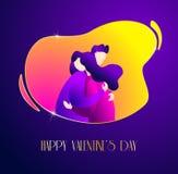 Κάρτα ημέρας του ευτυχούς βαλεντίνου με έναν τύπο που αγκαλιάζει ένα κορίτσι Ρομαντική απεικόνιση στο καθιερώνον τη μόδα επίπεδο  απεικόνιση αποθεμάτων
