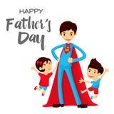 Κάρτα ημέρας του ευτυχούς πατέρα - έξοχος μπαμπάς ηρώων στη διάσωση Στοκ Εικόνα