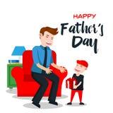 Κάρτα ημέρας του ευτυχούς πατέρα - ειδικό δώρο για τον μπαμπά Στοκ Εικόνες