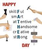Κάρτα ημέρας του ευτυχούς πατέρα Επίπεδο σχέδιο Στοκ Φωτογραφία