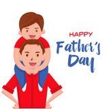 Κάρτα ημέρας του ευτυχούς πατέρα - ευτυχής στιγμή Στοκ εικόνα με δικαίωμα ελεύθερης χρήσης
