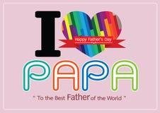 Κάρτα ημέρας του ευτυχούς πατέρα, ΜΠΑΜΠΑΣ αγάπης ή DAD διανυσματική απεικόνιση