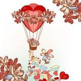 Κάρτα ημέρας του χαριτωμένου βαλεντίνου με συρμένο το χέρι μπαλόνι αέρα, καρδιές Στοκ Εικόνες