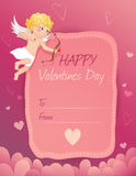 Κάρτα ημέρας του χαριτωμένου βαλεντίνου με το cupid Στοκ Φωτογραφία