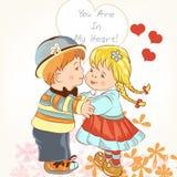 Κάρτα ημέρας του όμορφου βαλεντίνου με το ζεύγος της λαβής κοριτσιών και αγοριών Στοκ Εικόνες