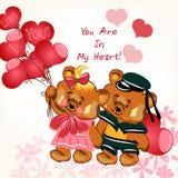 Κάρτα ημέρας του όμορφου βαλεντίνου με το ζεύγος του κοριτσιού αρκούδων και του BO Στοκ φωτογραφία με δικαίωμα ελεύθερης χρήσης