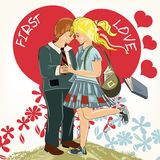 Κάρτα ημέρας του όμορφου βαλεντίνου με το ζεύγος του κοριτσιού σπουδαστών και Στοκ εικόνες με δικαίωμα ελεύθερης χρήσης