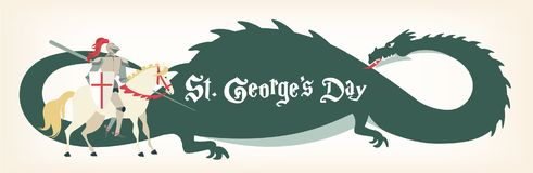 Κάρτα ημέρας του ST George s με τον ιππότη και το δράκο επίσης corel σύρετε το διάνυσμα απεικόνισης απεικόνιση αποθεμάτων