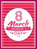 Κάρτα ημέρας των γυναικών στις 8 Μαρτίου σχεδίου ευχετήριων καρτών απεικόνιση αποθεμάτων